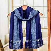 Rayon scarf, 'November Skies' - Loom Woven Blue Striped Rayon Scarf from Guatemala
