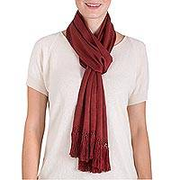 Rayon scarf, 'Earth's Bounty' - Loom Woven Brick Colored Rayon Scarf from Guatemala