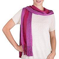 Rayon scarf, 'Red Fruit' - Guatemalan Handmade Striped Rayon Scarf in Berry Hues
