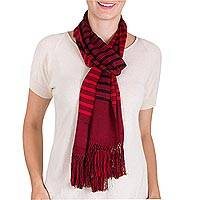 Rayon scarf, 'Dual Spirit' - Guatemalan Loom Woven Red and Black Striped Rayon Scarf