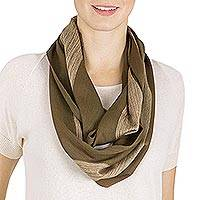 Rayon infinity scarf, 'Earth Mother' - Hand Woven Striped Rayon Infinity Scarf from Guatemala