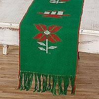 Cotton table runner, 'Christmas Gathering in Green' - Loom Woven Green 100% Cotton Table Runner from Guatemala