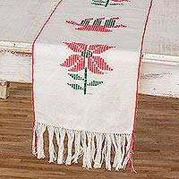Cotton table runner, 'Christmas Gathering in White' - Guatemalan Loom Woven 100% Cotton Table Runner in White
