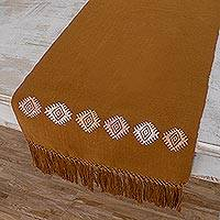 Cotton table runner, 'Earth and Sky in Brown' - Brown Loom Woven 100% Cotton Table Runner from Guatemala