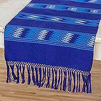 Cotton table runner, 'Guatemalan Sky' - Guatemalan Hand Woven 100% Cotton Table Runner in Blue