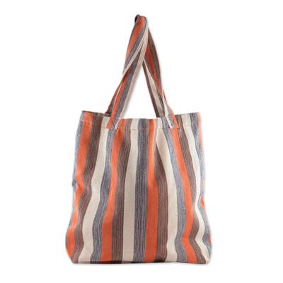 Novica Cotton shoulder bag, Chajul - Hand Crafted Striped Cotton Shoulder Bag