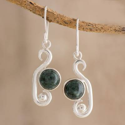 Novica Jade dangle earrings, Verde Hearts