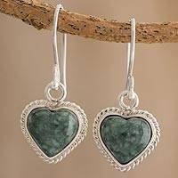 Jade dangle earrings, 'Undying Love' - Jade and Sterling Silver Heart Dangle Earrings