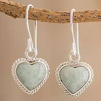 Jade dangle earrings, 'Immortal Love' - Jade and Sterling Silver Heart Dangle Earrings