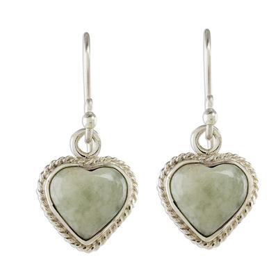Jade and Sterling Silver Heart Dangle Earrings