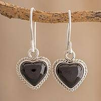 Jade dangle earrings, 'Abiding Love' - Black Jade and Sterling Silver Dangle Earrings