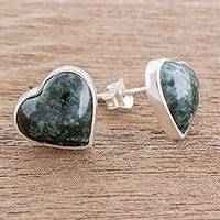 Jade button earrings, 'Love Reflection in Dark Green' - Heart-Shaped Dark Green Jade Button Earrings from Guatemala