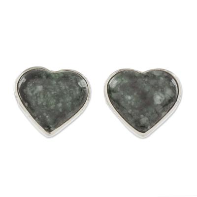 Heart-Shaped Dark Green Jade Button Earrings from Guatemala