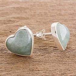 Jade button earrings, 'Love Reflection in Light Green' - Heart-Shaped Light Green Jade Button Earrings from Guatemala
