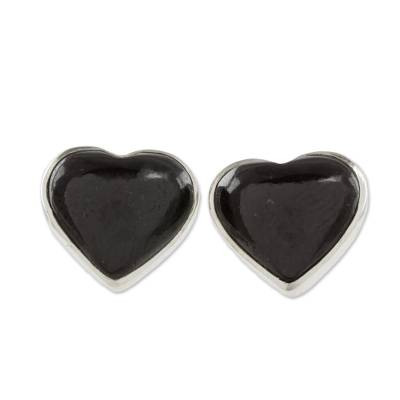 Heart-Shaped Black Jade Button Earrings from Guatemala, 'Love Reflection in  Black'