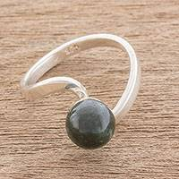 Jade cocktail ring, 'Beautiful Orb in Dark Green' - Circular Jade Cocktail Ring in Dark Green from Guatemala