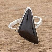 Jade cocktail ring, 'Abstract Form in Black' - Triangular Black Jade Cocktail Ring from Guatemala