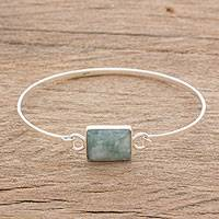 Jade pendant bangle bracelet, 'Captured Cloud' - Jade and Sterling Silver Pendant Bangle Bracelet