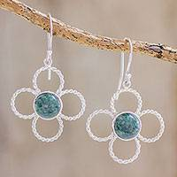 Jade dangle earrings, 'Nature's Peace' - Floral Sterling Silver and Jade Dangle Earrings