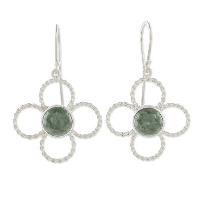Floral Sterling Silver and Jade Dangle Earrings