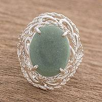 Jade cocktail ring, 'Serene Delicacy' - Guatemalan Jade and Sterling Silver Cocktail Ring