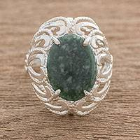 Jade cocktail ring, 'Serene Delight' - Guatemalan Jade and Sterling Silver Cocktail Ring