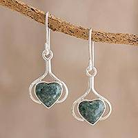 Jade dangle earrings, 'Love Fantasy in Dark Green' - Heart Jade Dangle Earrings in Dark Green from Guatemala