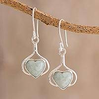 Jade dangle earrings, 'Love Fantasy in Light Green' - Heart Jade Dangle Earrings in Light Green from Guatemala