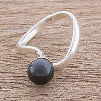 Jade cocktail ring, 'Beautiful Orb in Black' - Circular Jade Cocktail Ring in Black from Guatemala