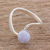 Jade cocktail ring, 'Beautiful Orb in Lilac' - Circular Jade Cocktail Ring in Lilac from Guatemala