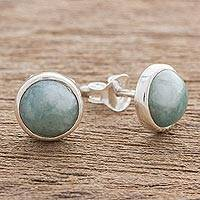 Jade stud earrings, 'Perfect Purity in Light Green' - Jade and Sterling Silver Stud Earrings from Guatemala