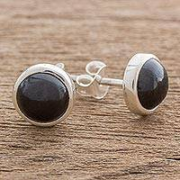Jade stud earrings, 'Perfect Purity in Black' - Black Jade and Sterling Silver Stud Earrings from Guatemala