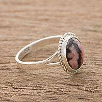 Rhodonite cocktail ring, 'Dare to Dream' - Rhodonite and Sterling Silver Cocktail Ring
