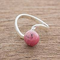 Rhodonite single-stone ring, 'Modern Twist' - Modern Rhodonite and Sterling Silver Single Stone Ring