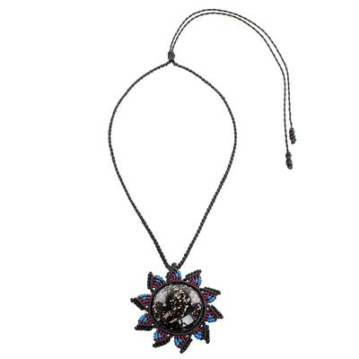 Macrame Cord Pendant Necklace with Obsidian Sun