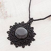 Jade pendant necklace, 'Macrame Mystery' - Macrame Pendant Necklace with Black Jade