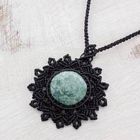 Jade pendant necklace, 'Macrame Intrigue' - Jade Pendant Necklace with Macrame Cord