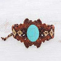 Wristband bracelet, 'By the Lake' - Reconstituted Turquoise Macrame Wristband Bracelet
