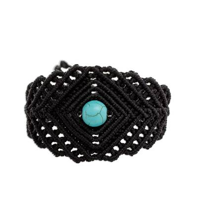Macrame Wristband Bracelet with Reconstituted Turquoise