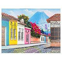 'Passage to San Juan del Obispo' - Signed Naif Cityscape Painting from Guatemala