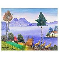 'Atitlan' - Signed Landscape Scene of Lake Atitlan in Guatemala