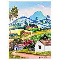 'Chun Sij in Comalapa' - Signed Naif Landscape Painting from Guatemala