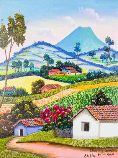 'Chun Sij in Comalapa' - Signed Impressionist Landscape Painting from  Guatemala - Signed Impressionist Landscape Painting From Guatemala - Chun Sij In
