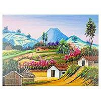 'The Mountains' - Signed Mountain and Landscape Painting from Guatemala