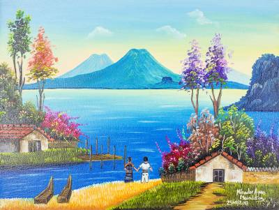 'View of Agua Escondida' - Signed Waterscape and Landscape Painting from Guatemala