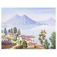'San Antonio Palopo' - Signed Folk Art Landscape Painting from Guatemala