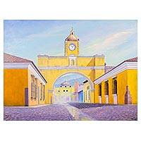 'Arch Street' - Signed Folk Art Cityscape Painting from Guatemala