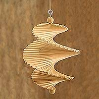 Wood mobile, 'Tranquil Winds' - Hand Carved Pinewood Mobile with Adjustable Shapes