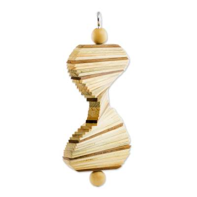 Wood mobile, 'Tranquil Lines' - Handcrafted Wood Mobile with Adjustable Shapes
