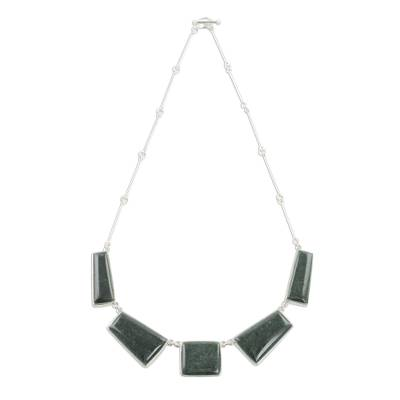 Jade pendant necklace, 'Secluded Beauty' - Modern Sterling Silver and Dark Green Jade Pendant Necklace